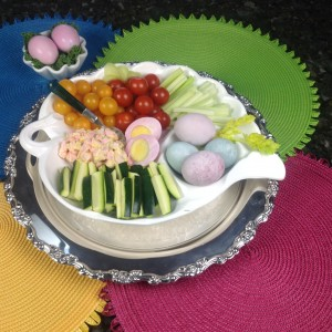 Vegetable Tray With Hard Boiled Eggs Containing Pink Egg Whites & Naturally Colored Eggs